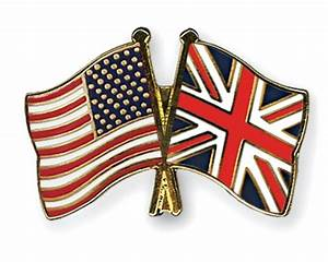 Crossed Flag Pins USA-Great-Britain Flags