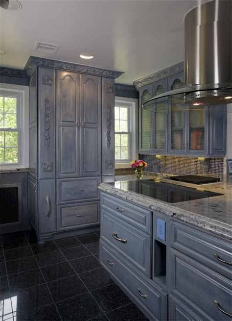 grey cabinets  blue pearl tile floor kitchen