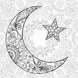 Ramadan Coloring Kareem Moon Half Greeting Engraved Mubarak Sketch Decoration sketch template