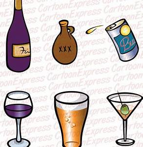 cartoon vector illustration alcoholic drinks
