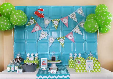 And Blue Birthday Decorations - green blue modern birthday partay trains