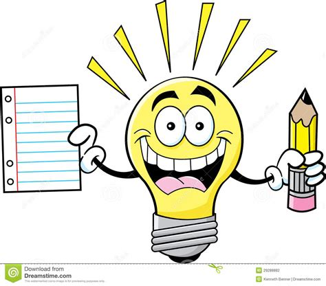 Cartoon Light Bulb Holding A Paper And Pencil Stock Vector