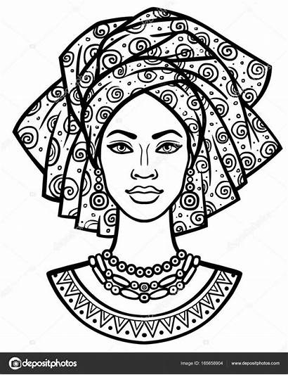 African Drawing Woman Turban Vector Portrait Animation
