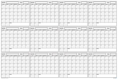 Swiftglimpse Annual Blank Yearly Wall Planning Calendar
