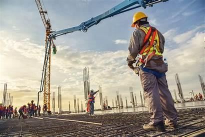 Construction Site Worker Background Sunset Concrete Scene