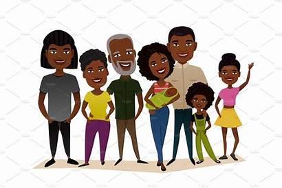 Cartoon Happy Concept African Vector Illustration Grandparents