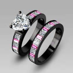 black wedding sets white cubic zirconia black engagement ring wedding ring set for black rings with