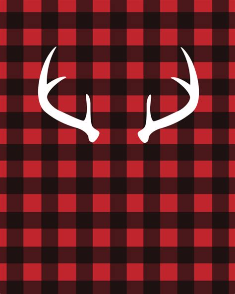 deer antlers and plaid for christmas white antlers on buffalo plaid free printable printables plaid decor lumberjack