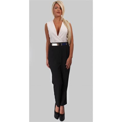 white and black jumpsuit kourtney white and black jumpsuit parisia fashion