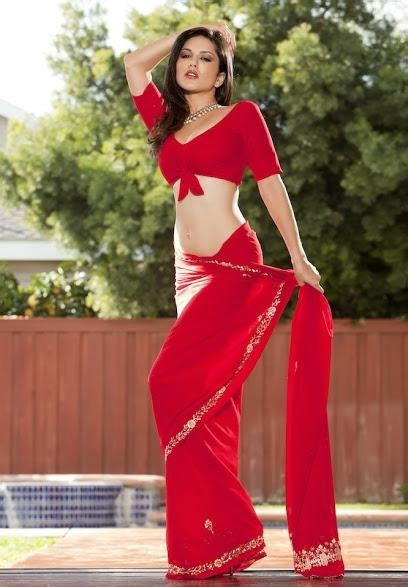 Hot And Spicy Pics Sunny Leone Hot Pics In Red Sari