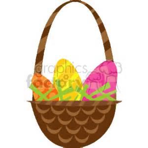 cartoon easter eggs  brown handled basket clipart