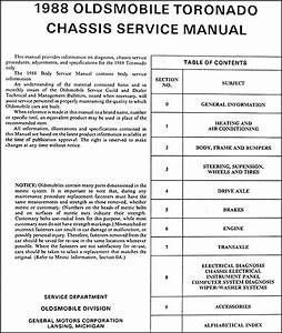 1988 Oldsmobile Toronado  U0026 Trofeo Repair Shop Manual Original