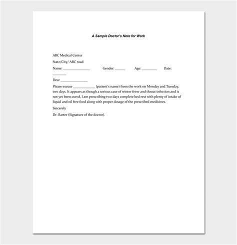 Doctors Note Template 7 Fillable Notes For Word Pdf