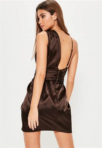 Satin Brown Knot Asymmetric Missguided Lyst Dresses