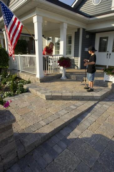 unilock steps installation front entrance steps by unilock with stonehenge paver photos