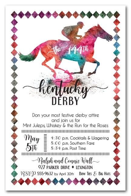 painted race horse kentucky derby party invitations
