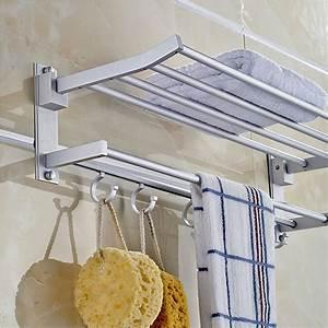 Alumimum, Folded, Silver, Bath, Towel, Shelf, Washcloth, Rack, Holder, With, 5, Hooks