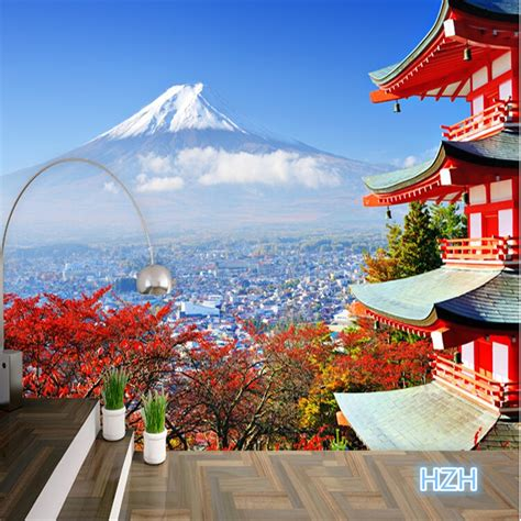 foto wallpaper fuji jepang flag landscape modern ruang