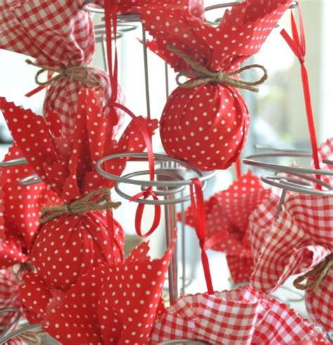 fabric baubles make your own christmas decorations