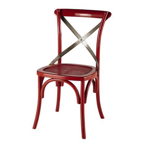 stoel en stoel stoel rotan en metaal rood tradition maisons du monde