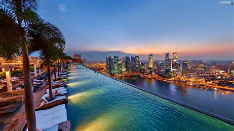 On Roof Pool Marina Bay Singapore Night Hotel Hall