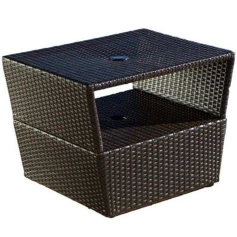 rst brands espresso rattan 22 in x 28 in patio side