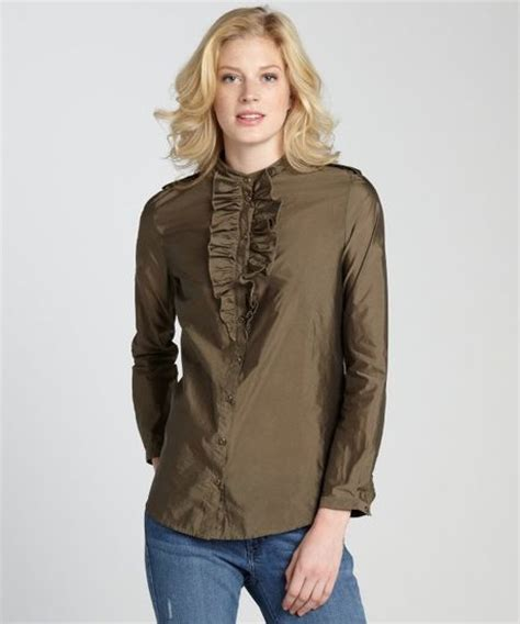 olive green blouse burberry olive green stretch knit ruffle collar blouse in