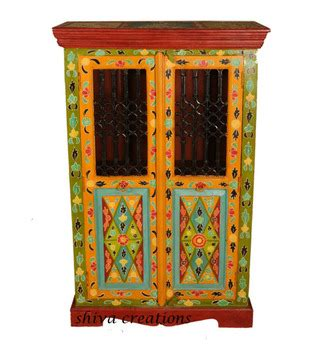 antique painted wooden furniture indian jali cabinet buy
