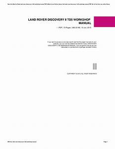 Land Rover Discovery 2 Td5 Workshop Manual Free Download