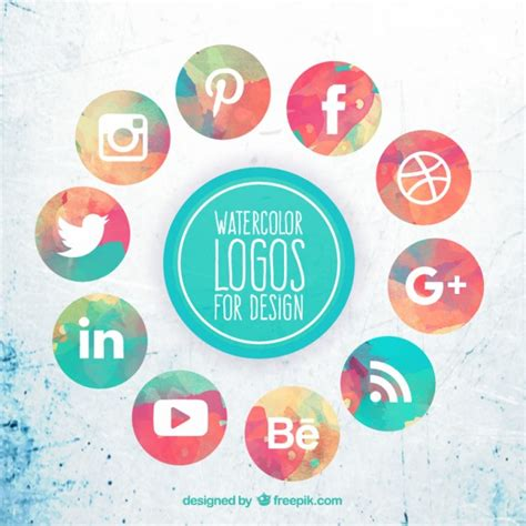 Free Social Media Icons Collection Of Watercolor Social Media Icons Vector Free