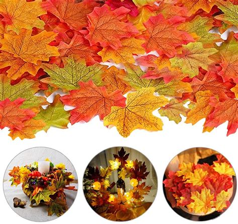 200/400/1000Pcs Artificial Maple Leaves 4 Colors Fake Fall Leaves Silk Autumn Leaves for ...