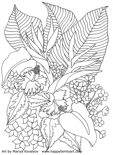 TropicalFlowers Cool coloring pages Flower coloring