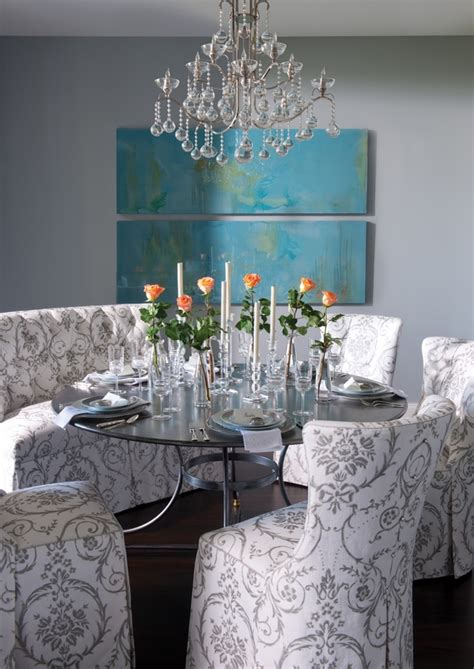 eclectic dining  gray  turquoise interiors  color