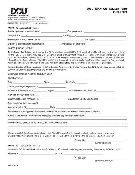 subordination agreement forms