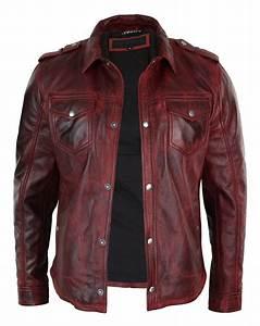 Veste En Cuir Rouge Homme : veste homme cuir v ritable marron rouge d lav coupe cintr e boutonn e r tro ebay ~ Melissatoandfro.com Idées de Décoration