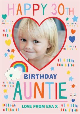 Be indispensable for friends, happy in the eyes of envious people and the most beloved for family and friends! Photo Upload Birthday Card Happy 30th Auntie   Moonpig
