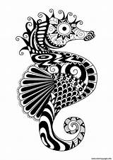 Coloring Zentangle Pages Horse Sea Adult Adults Water Printable Simple Worlds Mandala Colouring Coloriage Tattoo Seahorse Muster Ocean Malen Mandalas sketch template