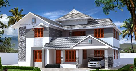 evens construction pvt  double storied sloping roof kerala home