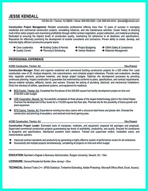 Project Manager Profile by Construction Project Manager Resume For Experienced One