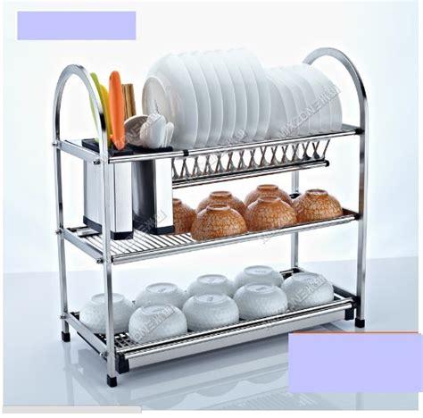 kitchen organizer racks 3 tier stainless steel dish plate cup rack kitchen 2375