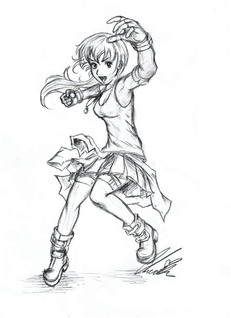 anime poses reference coloring pages