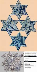 Antique, Islamic, Persian, Tiles, A, Four, Kerman, Blue, Star