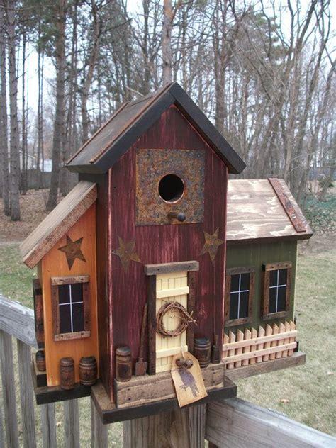 Large Folk Art Primitive Saltbox House Multi Color Farm