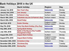 2018 Printable Calendar with US & UK Holidays Print