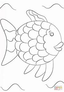 rainbow fish template coloring page free printable With rainbow fish colouring template