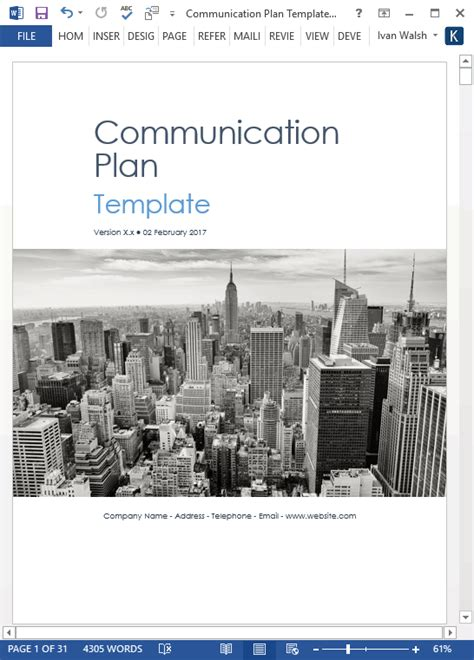 communication plan template ms wordexcel templates