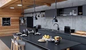 Cuisine noire des photos deco pour s39inspirer cote maison for Idee deco cuisine avec cuisine bois et noir