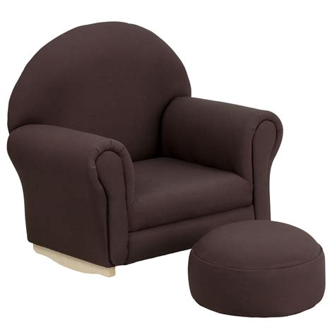 brown fabric rocking chair and ottoman