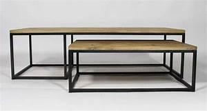 Table De Salon Industrielle : table basse industrielle gigogne ~ Teatrodelosmanantiales.com Idées de Décoration