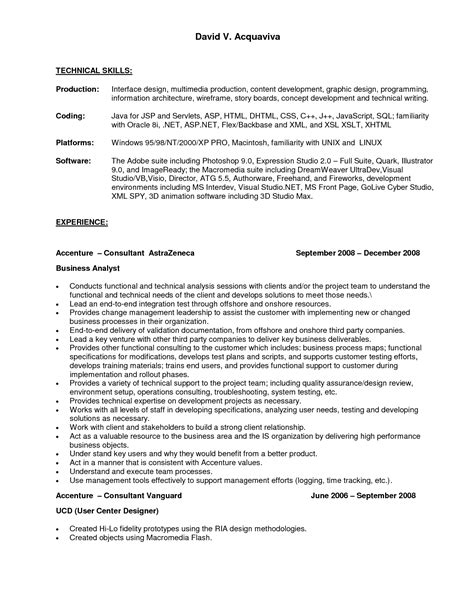 technical skills resume exles skills resume exles of